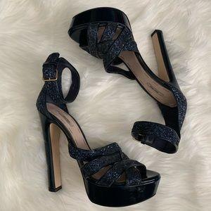 Miu Miu Navy Blue Glitter Peep Toe High Heels